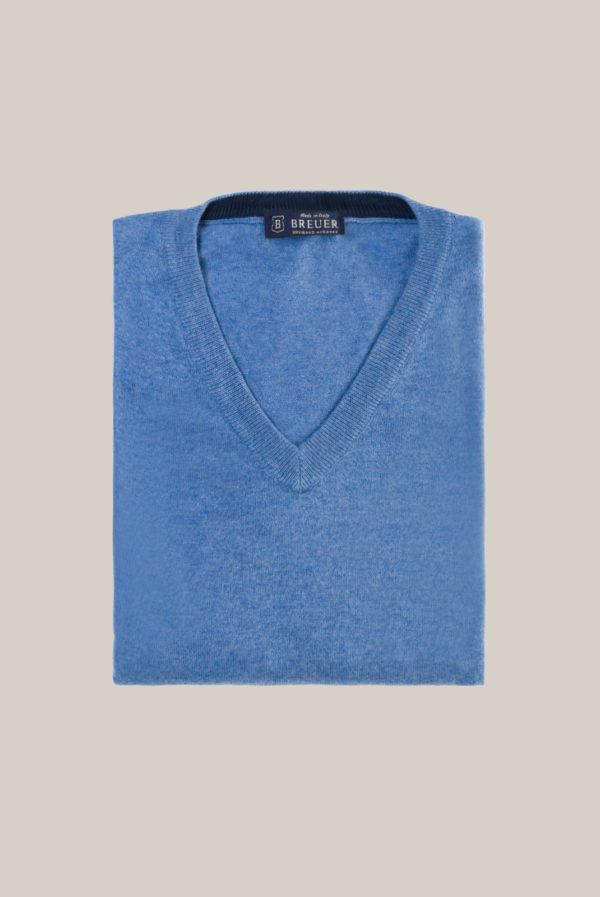 Pull Col V Uni Bleu Clair
