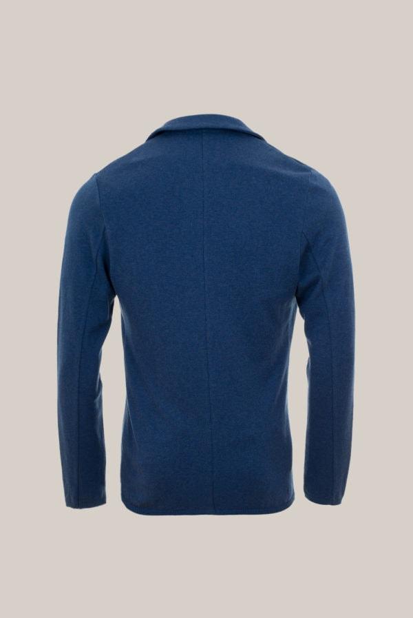 Veste en Maille Coton Uni bleu de Mer