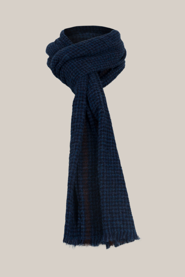 Echarpe maille Alpaga - Laine Tissage bleu marine et bleu cobalt