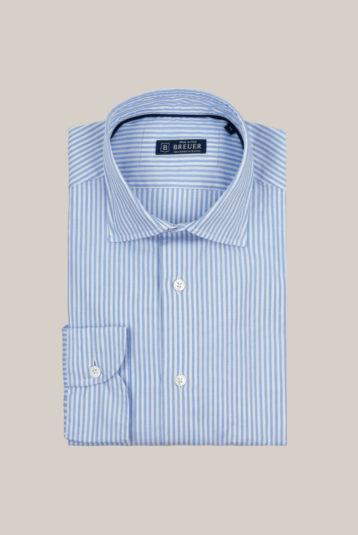 Chemise Beaulieu Coton Oxford Rayures bâton bleu ciel et blanc