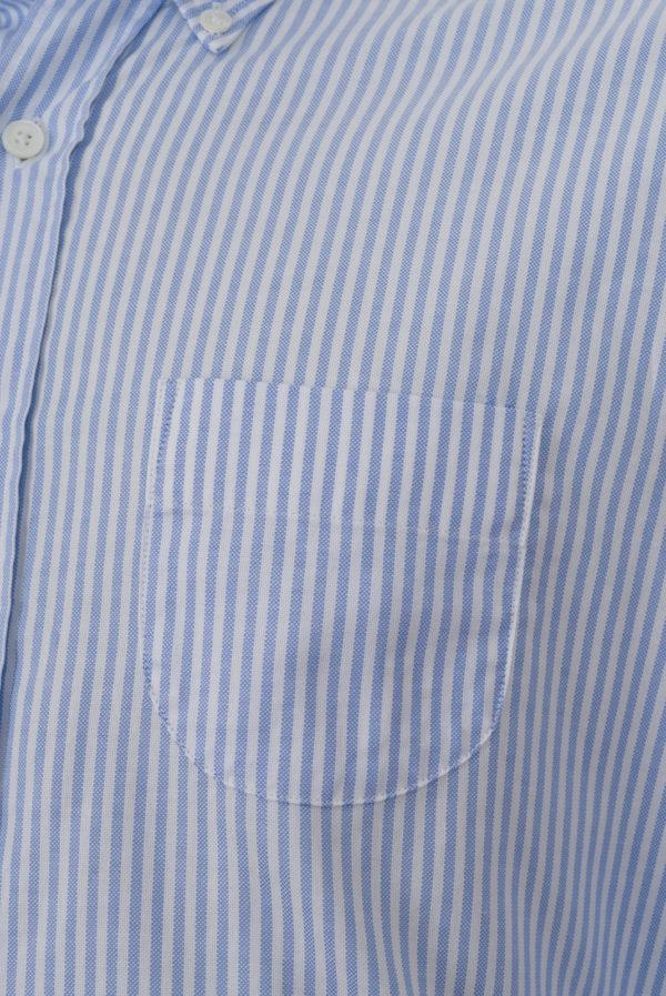 Chemise Ramatuelle Coton Oxford Rayures bâton bleu ciel et blanc