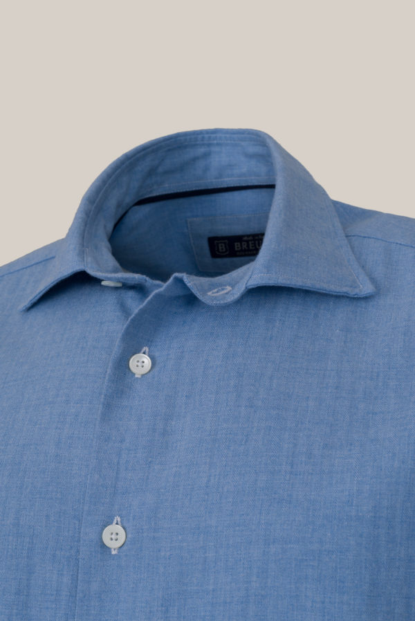 Chemise Beaulieu Coton Flanelle Uni bleu ciel