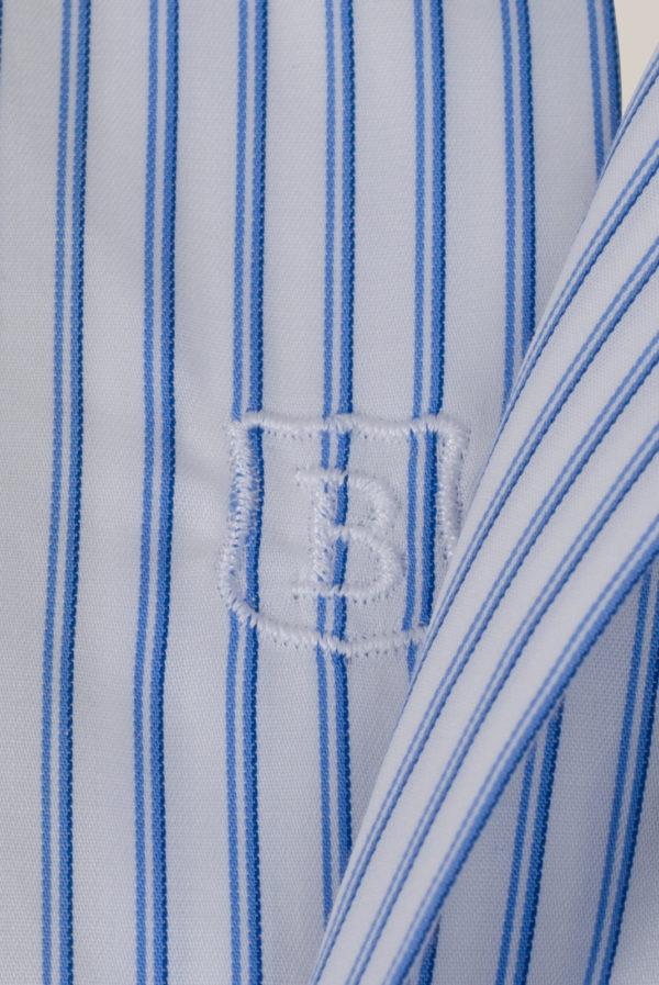 Chemise Beaulieu Coton Popeline Double rayures bleu et ciel sur fond blanc