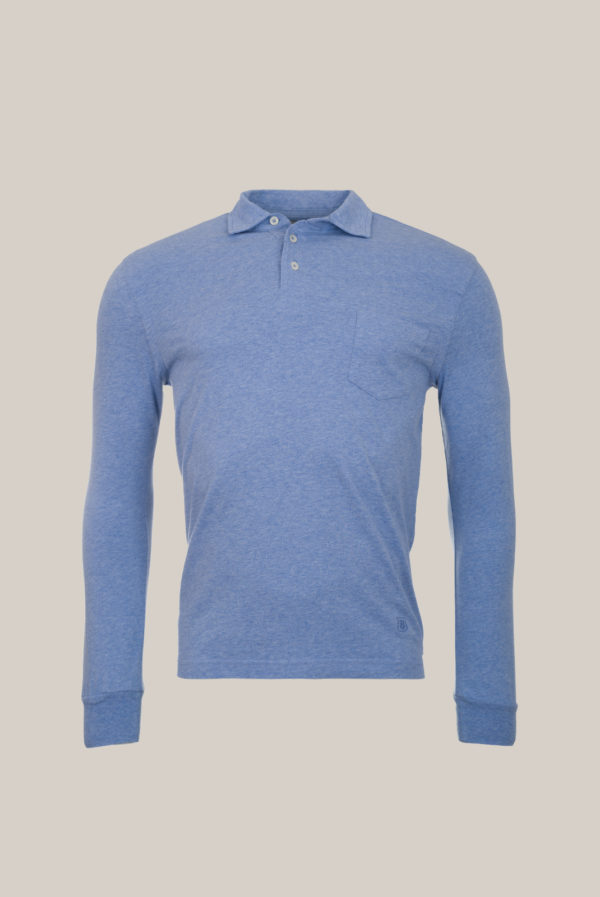 Polo ML Jersey Coton Bleu ciel