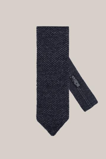 Cravate Tricot Laine Bi couleur Bleu marine et gris souris