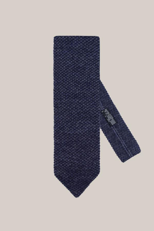 Cravate Tricot Laine Bi couleur Bleu foncé et bleu lavande