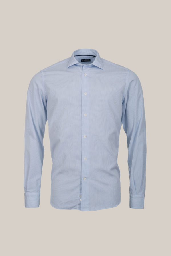 Chemise Beaulieu Coton Popeline Fine rayure bleu ciel sur fond blanc