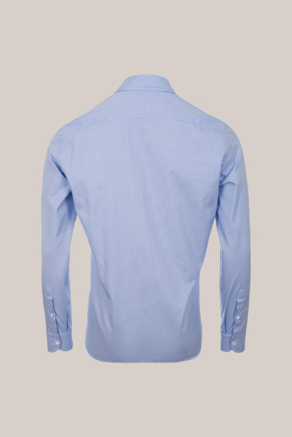 Chemise Beaulieu Coton Twill Egyptien Micro pied de poule bleu ciel et blanc