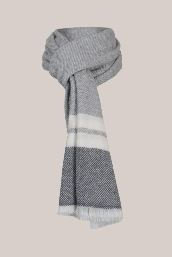 Echarpe maille Laine - Cashmere Dégradé de gris et blanc